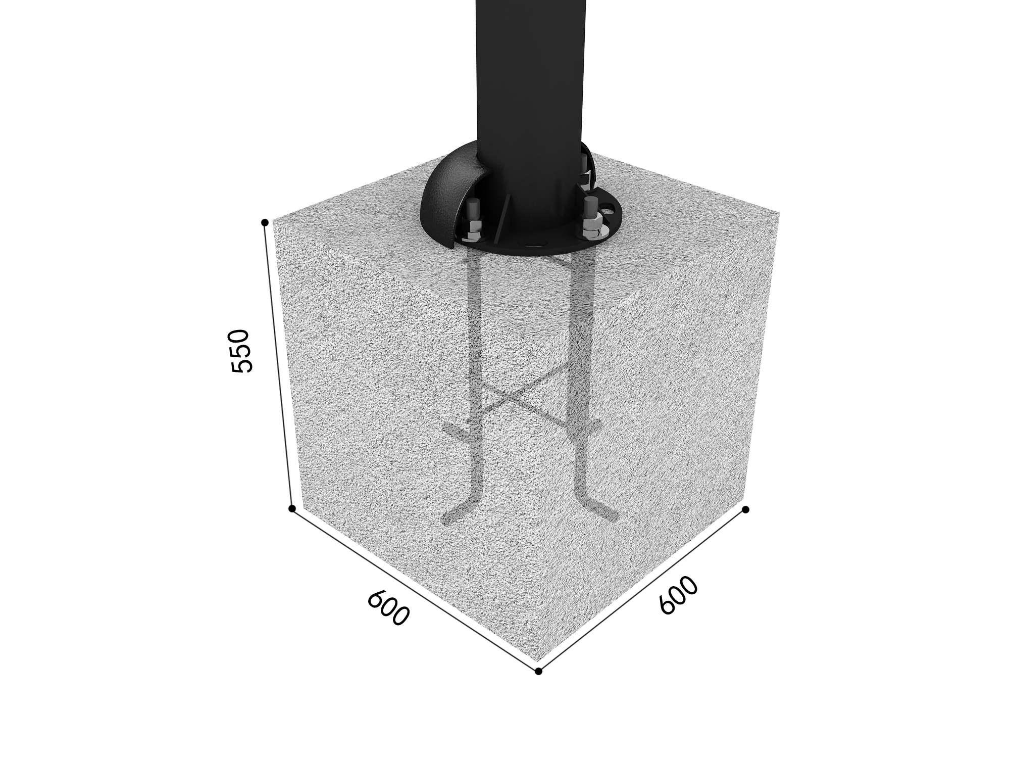 Blok betonowy ze stelażem stalowym (słup / noga) place zabaw projekty realizacje