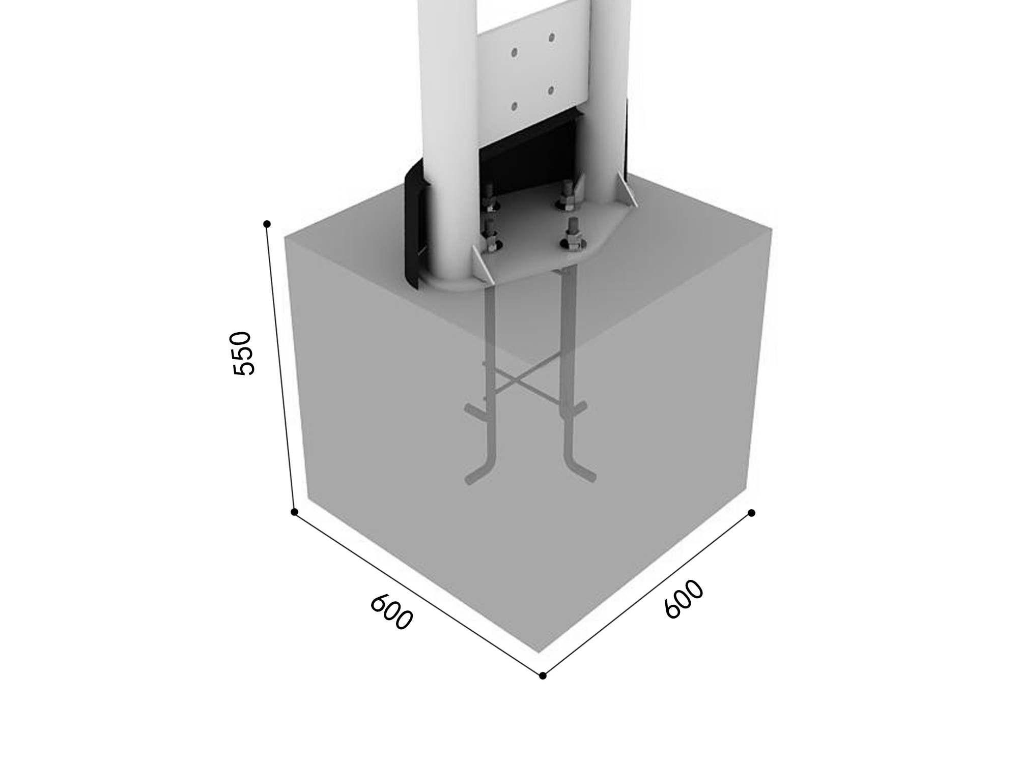 Blok betonowy ze stelażem stalowym (pylon) place zabaw projekty realizacje